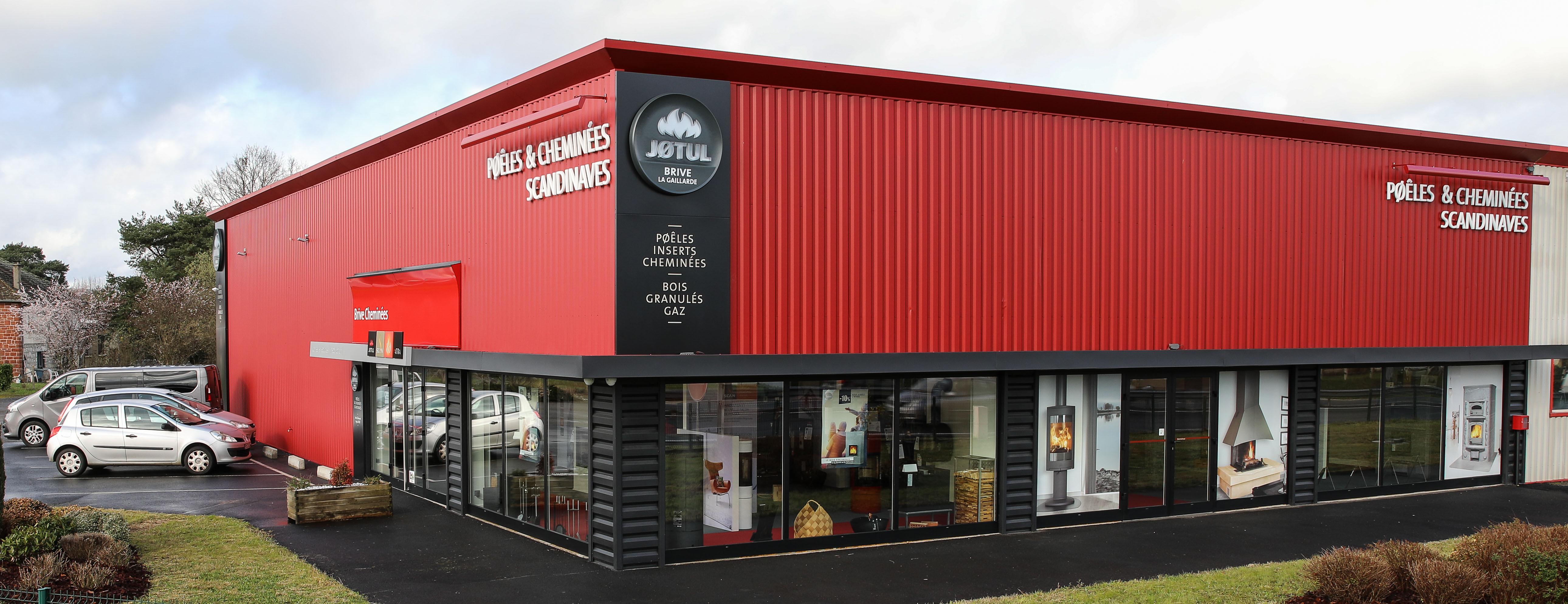 Showroom JOTUL Brive cheminée, Facade magasin, poele à bois, granulés, parking
