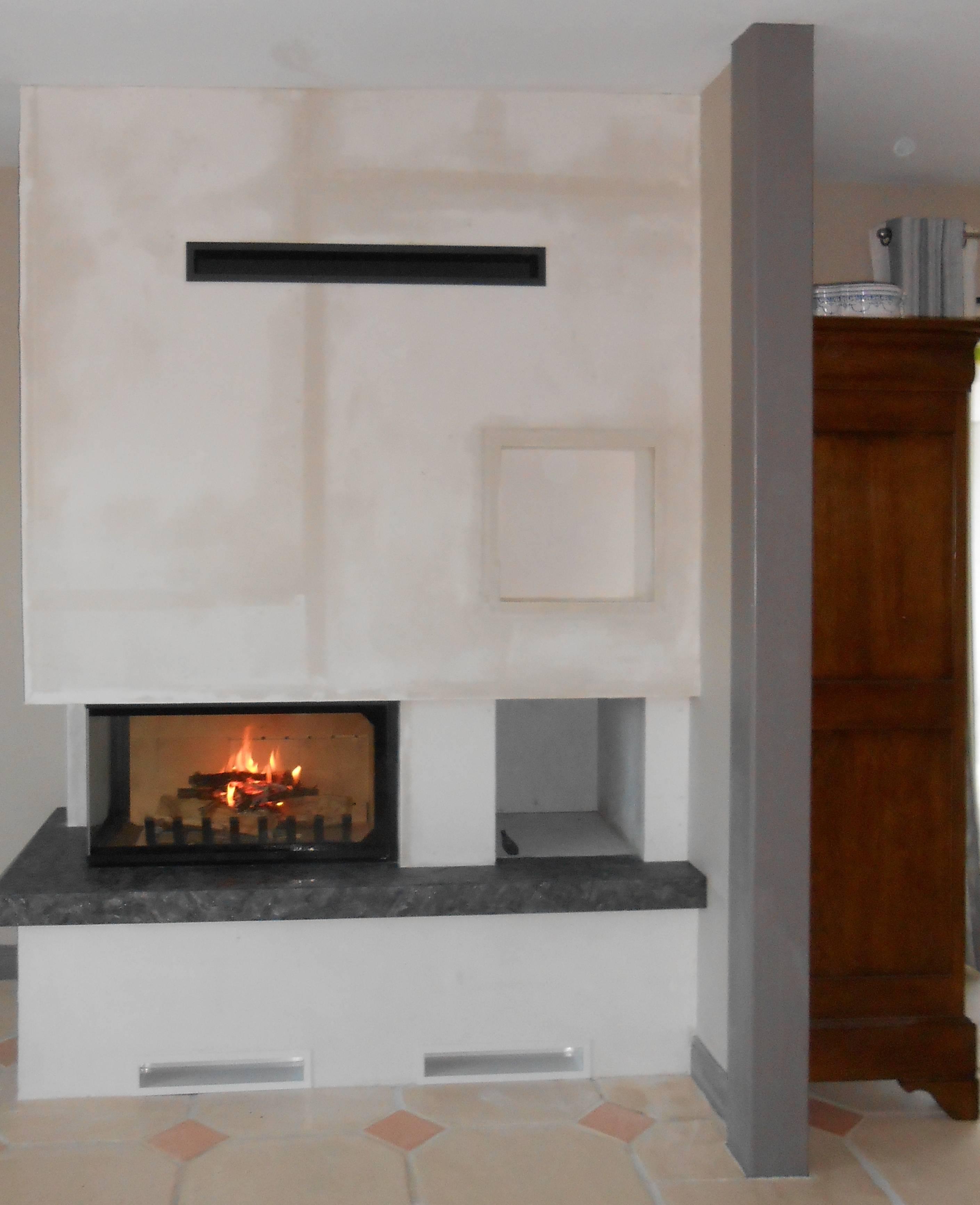 Photo installation, JOTUL Brive Cheminées, cheminée, design, Atraflam 16/9 800 Vitre latérale gauche, insert à bois