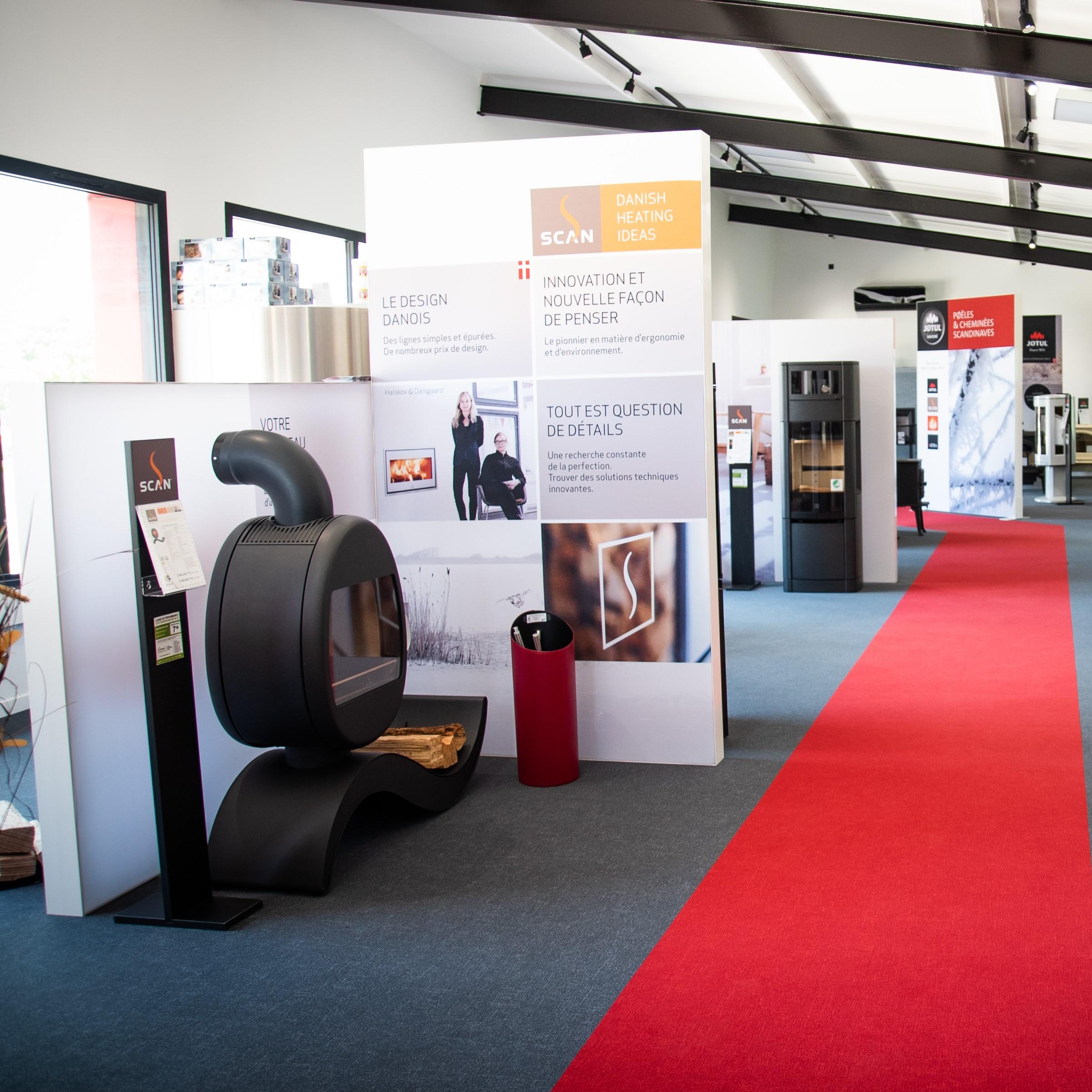 Showroom JOTUL Savigné, Giraud & Fil, poêle à bois SCAN, design, acier, compartiment four, design danois