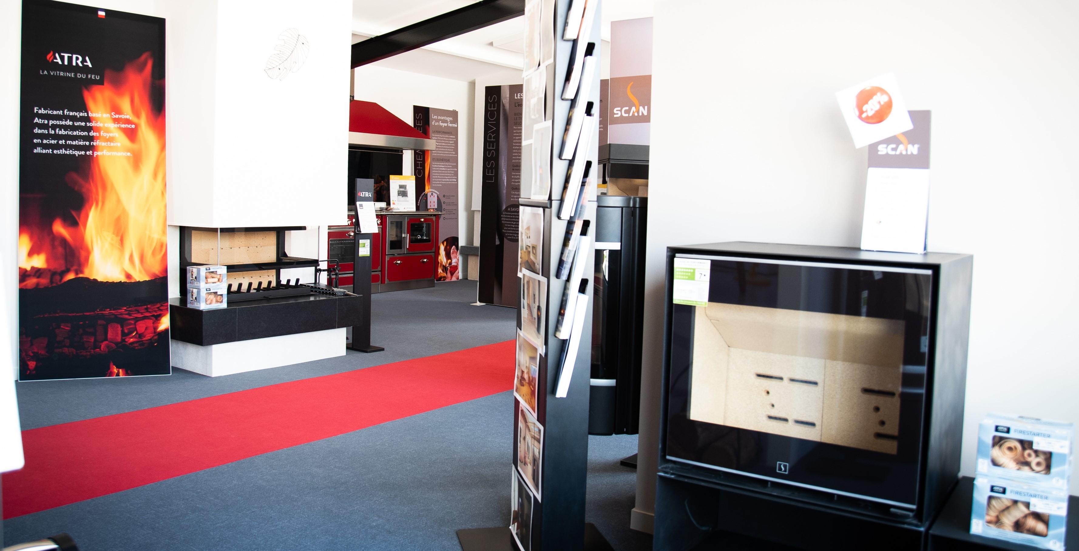 Showroom JOTUL Savigné, Giraud & Fils, poele à bois et cheminée sur mesure, SCAN, ATRA